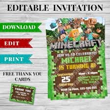 minecraft party invites complete printable minecraft party pack minecraft printables