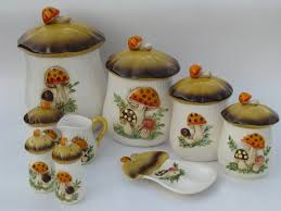 70s merry mushrooms canister and kitchen ware set vintage sears box