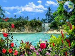 images of tropical waterfalls with flowers sc