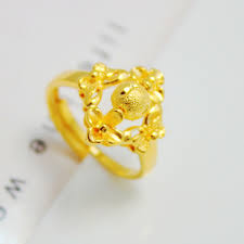 bridal gold ring fashion rings plated yellow gold ring bead transfer bridal