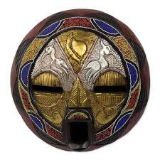 bead mask bead and brass repousse wall mask with animal motifs