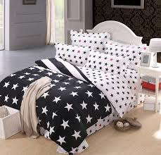 low price selling 800t 4pc duvet cover sets black and white stars