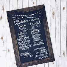 wedding program chalkboard chalkboard wedding program signrustic wedding program