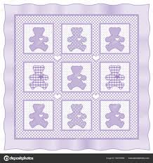 teddy bear quilt pastel lavender and white gingham polka dots