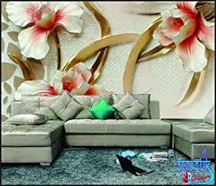 3d Wallpaper For Home Wall India Buy Swastik Flower Design U0027beautiful White U0026red Flowers 3d