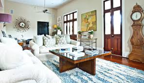 white shag rug living room eclectic with artwork blue area rug