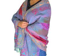 Tyrian Purple Mauve Purple Ladies Wool Shawl Wrap Jamawar Evening Dress Scarf