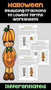 halloween math reducing fractions to lowest terms worksheets