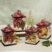 grapes kitchen decor touch of class wine cellar canister set