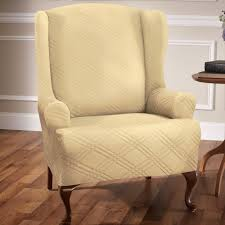 slipcover wing chair stretch wing chair slipcovers