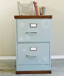 Teal File Cabinet Filing Cabinet Update With Wooden Top And Trim Project By Decoart