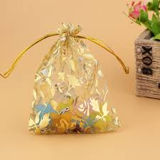 small organza bags wholesale 100pcs high quality 9x12cm small organza bag gold