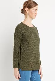 forever 21 textured knit sweater in green lyst