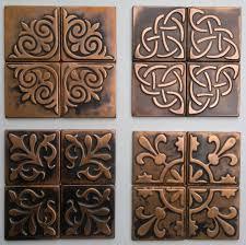 Metal Home Decorating Accents Copper Kitchen Backsplash Set Of 4 Tiles Copper Decor Rustic