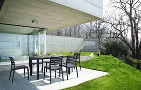 Modern Garden Table Maryss Resin Dark Grey Modern Garden Dining Table 140 X 80cm Miliboo