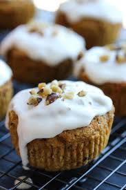 carrot ginger flax muffins with cream cheese glaze dishing out