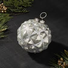 silver geometric ball ornament crate and barrel