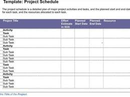 project schedule sample free word 039 s templates project
