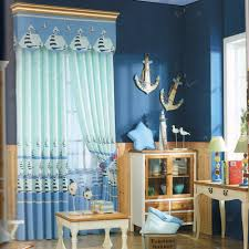 nautical baby blue awesome curtains for kids no valance