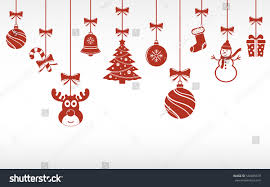 christmas red ornaments hanging merry christmas stock vector