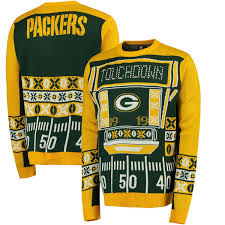 green bay packers lights men s green bay packers klew green light up ugly sweater