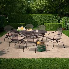 Wrought Iron Patio Table Set by Hamlake 7 Piece Wrought Iron Motion Patio Dining Set Target
