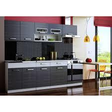 cuisine noir et gris cuisine topaze noir chiné gris 7 meubles 2m40 achat vente