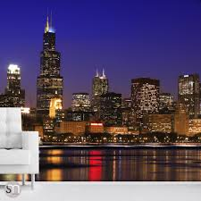 Fabric Wall Murals by Chicago Night Skyline Wall Mural Graphicsmesh