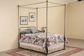 sold wrought iron u0026 brass vintage full size canopy bed harp