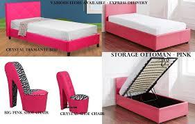 girls funky pink bedroom furniture ottoman storage diamond