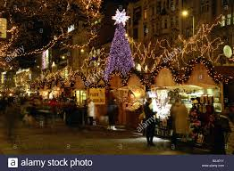 christmas markets wenceslas square prague czech republic stock