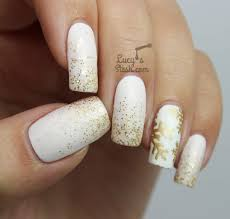 festive white and gold glitter gradient u0026 snowflake nails uñas