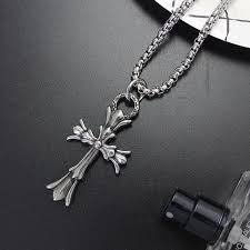 double necklace style images Chrome hearts style double floral cross pendant necklace 532 jpg