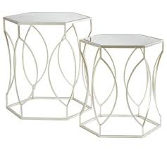 silver side table uk buy premier housewares avantis nest of 2 tables brushed silver at