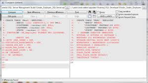 sql server compare tables comparing create table between oracle and microsoft sqlserver