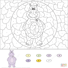 puppy color by number free printable coloring pages