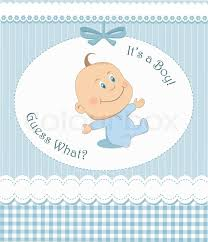 baby shower frames baby shower or arrival card with boy in blue frame stock vector