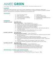 Maintenance Skills For Resume Best Diesel Mechanic Resume Example Livecareer