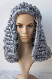 long curly hair style for lawyer amazon com lawyer wig judge wig long curly gray silver men wig