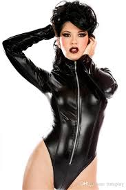 women pvc leotard wetlook faxu leather latex vinyl