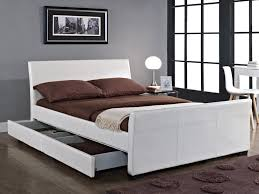 tgc dresden double ivory white faux leather 4 drawer bed frame