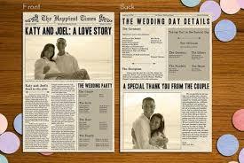 newspaper wedding programs newspaper printable wedding program by bashstudio on etsy 25 00