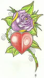 heart and purple rose tattoo design best tattoo designs