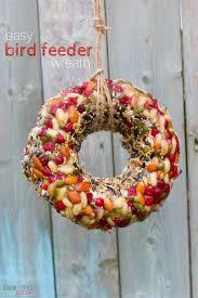 kid made bird feeder wreath sugar spice and glitter