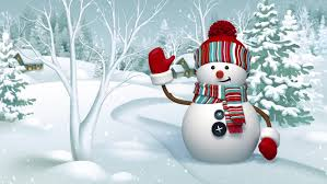 snowman waving in the snowy forest animated greeting card