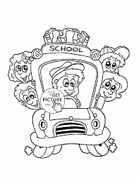 bus with kids coloring page for kids back to