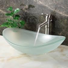 elite gd33f unique oval frosted tempered glass bathroom sink