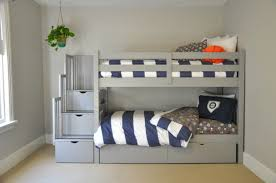 gray bunk beds with stairs storage drawers and under bed storage