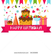happy birthday template card flat vector stock vector 386725378