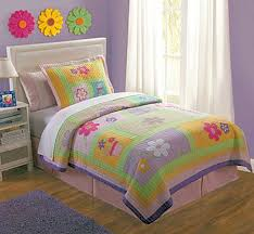 Purple Girls Bedding by Pink Purple Green Floral Girls Bedding Twin Quilt Set Cotton